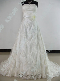 Wholesale Best selling New Sexy Sweetheart Strapless Embroidered Lace Chapel train Wedding Dresses