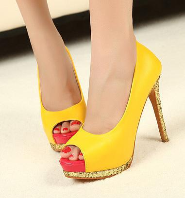 Fashionable Evening Club Heels Yellow Peep Toe Shoes Glitter