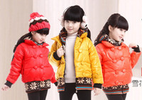 Wholesale Girl s snow cotton padded clothes Yellow Kids coat Children thicken dust coat Overcoat Winter style