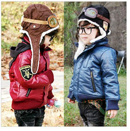 Wholesale children s winter boys and girls cute coated leather labeling padded jacket coat dandys