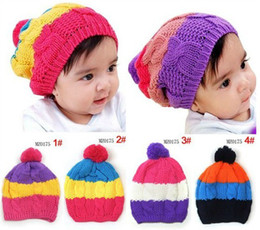 Discount knit crochet hats fedora Fall Winter children's hats, baby knitted hats, rainbow colored caps, 10pcs lot,dandys