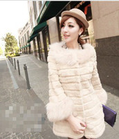 Wholesale female noble Rabbit Fur Collar wool sleeve splicing stripe Plush Korean leather grass coat