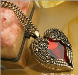 Vintage Red Diamond Peach Heart Wings Long Necklaces With Ruby Chain Sweater Necklace