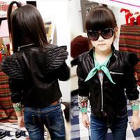 fashion leather jacket - Solid Imitation Leather Cool Children Coat For Winter Boy Girl s Angel Wings Fashion Design Jacket Black Fushia PU leather Jackets