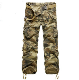 Wholesale HOT CASUAL MILITARY ARMY CARGO CAMO COMBAT WORK PANTS TROUSERS Multi pocket trousers SIZE