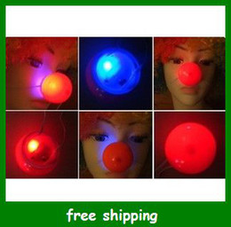 Wholesale Cartoon Wedding Gift - Hot Selling LED Clown red nose Halloween luminous Kids Toys Party Gifts free shipping