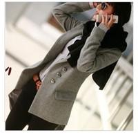 Wholesale New fashion women girls slim fit coats long sleeve overcoat casual outwear Wool Blends