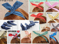 Wholesale 100pcs Mixed colors Popular Cutie Corea Japan Jean Rabbit Ear Ribbon Scarf Headband Hair Band Vivi