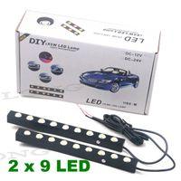 Wholesale Car Daytime Running Driving Light DRL Bright x9 LED Lamp White Light W DC V