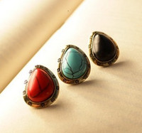 Wholesale Vintage Style Colors Red Blue Black Opal Gem Ear Stud Earrings pairs women s jewelry