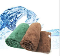 Wholesale One green Extra thick microfiber cloth car cleaning towel pet towel size cm