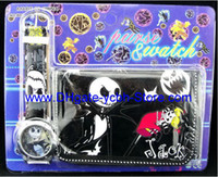 Wholesale kids children cartoon nightmare before christmas watches and wallet sets with