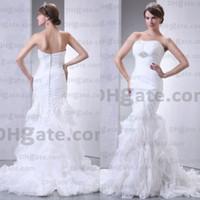 big model trains - Big Discount High Quality Organza Simple Lace Mermaid Beaded Princess Wedding Dress Bridal Gown WD010