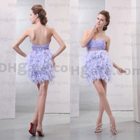 Actual Images feather cocktail dress - Hot New Arrival Light Purple Beaded Feather Cocktail Dress CK016