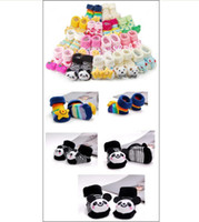 Wholesale 12 Pair Cartoon Baby Girl Boy Anti slip Socks Slipper Shoes Boots Month