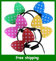 Wholesale New Bow LED Lighting Bowknot Minnie Head Band Cute Mickey Kids Toys Christmas Gifts