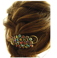 Wholesale 10pcs Diamante Luxury Peacock Duck Clip Banana Clips Hair Barrette Hairpin