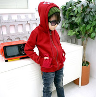 Wholesale Boys Coat children fashion long sleeve tops kids hoodies Winter over coat zipper clothes baby wears