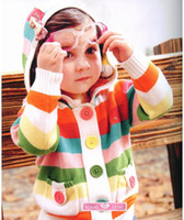 Wholesale baby girl s knit Jacket autumn fashion coats girl s coat s Colorful stripe colors B2