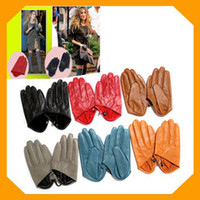 Wholesale New Freeshipping city desires women s half palm Real leather gloves color