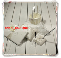 Wholesale New Arrival Cheap Ivory Satin Ring Pillow Wedding Favor Guest Books amp Feather Pen Container Sets