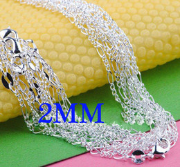 Mix Size Men's jewelry 925 Silver 2mm Figaro Chain Men's Necklace 16-24Inch 50pcs Mixed