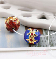Wholesale MIC pc Cloisonne Enamel Two Lotus Flower Round beads1