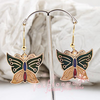 Wholesale MIC Pairs Fresh Super star Jewelry MIx Colors Cloisonne Butterfly Earrings