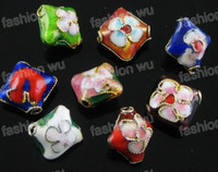 Wholesale MIC Mix Color Cloisonne Rhombus beads mm