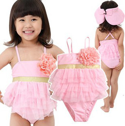Wholesale Romper Style Girl Triangle Pink Swimwear New Arrival Fashion Flower Cake Layers Beach Clothing