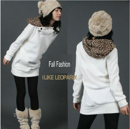 New Autumn Winter Classic Leopard Cap Women's Long Hoodies Sweatshirts Clothing Black, White