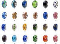 Silver murano glass beads - Promotion order HOT MURANO glass bead with solid single silver core for pandora bracelet