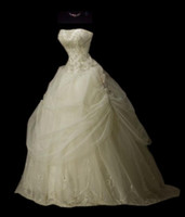 Wholesale 2010 New Sexy ivory strapless court train embroidery organza wedding dress of bride MS01195