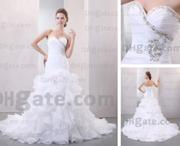 Wedding Dresses Organza Sweetheart Mermaid Semi-cathedral Train Bridal Gowns Real Actual Image