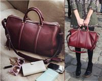 Wholesale Fashion women Totes Bags Classic claret red amp Black retro bags Trendy Boston bags Handbag amp shoulder bag