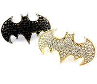 Wholesale Fashion European Style Gold gun Black Rhinestone Punk Bat Double Fingers Ring Mix Color