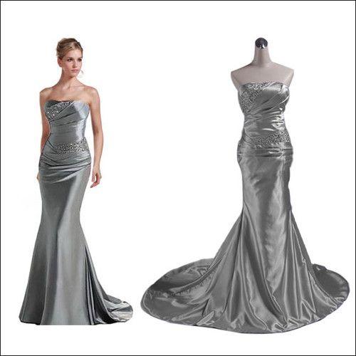 2012 New Cheap Strapless Ruffled Dark Silver Sequins Mermaid ...