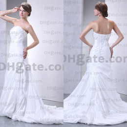 Wholesale Hot Sale Long Train High Quality Taffeta Wedding Dress WD017
