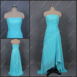 Wholesale Real Sample A Line Strapless Blue Chiffon Short Front Long Back Two Layer Evening Dresses in Stock