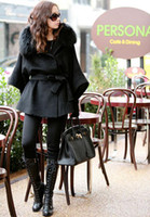 Wholesale Brand new winter women woolen coat jacket Faux Fox Fur Collar Hood Cape trench basic Black with belt outwear top quality hot fashion Euro US