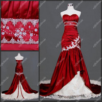 Wholesale Custom made hot sales sweetheart mermaid burgundy taffeta real sample wedding dress bridal gown
