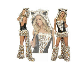 Wholesale high quality Sexy Furry Leopard Print Furry Costume Halloween Cat Wolf Leopard Nightclub DS Clothing