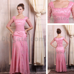 Mother of the Bride Dresses Square Mermaid Chiffon Floor Length Evening Dresses Real Actual Image