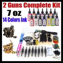 Wholesale Tattoo Kit Beginner Pro Machine Gun Power Supply Foot Pedal Needles Grip Tip Ink Cups TK202