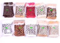 Wholesale New Leopard Rabbit Fur Gloves Woman Winter Fingerless Keyboard Gloves animal print hand wrist glove
