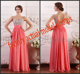 Wholesale Real Image Hot Brand New Evening Party Dresses Rhinestone Bead Chiffon A Line Prom Formal Gowns