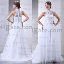Wholesale Big Discount Lace Fabric Beaded Ball Gown High Waist Wedding Dress WD019