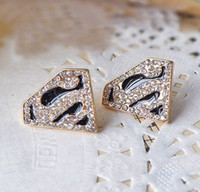 Wholesale Gold Plated Black Glazed Rhinestone superman Letter S Solid Geometry Earring pairs hot sale
