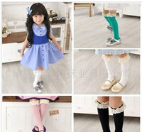 Wholesale 2012 Lovely Korea Cotton Solid Color Lace Girl Stockings Knee High Socks3571