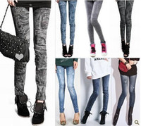 Wholesale New Denim Jeans women girl Sexy Leggings Jeggings Tights Skinny Pants Jean Legging